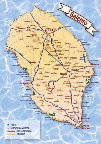 Salento Cartina Stradale.Grafica Cartina Stradale Del Salento Casarano